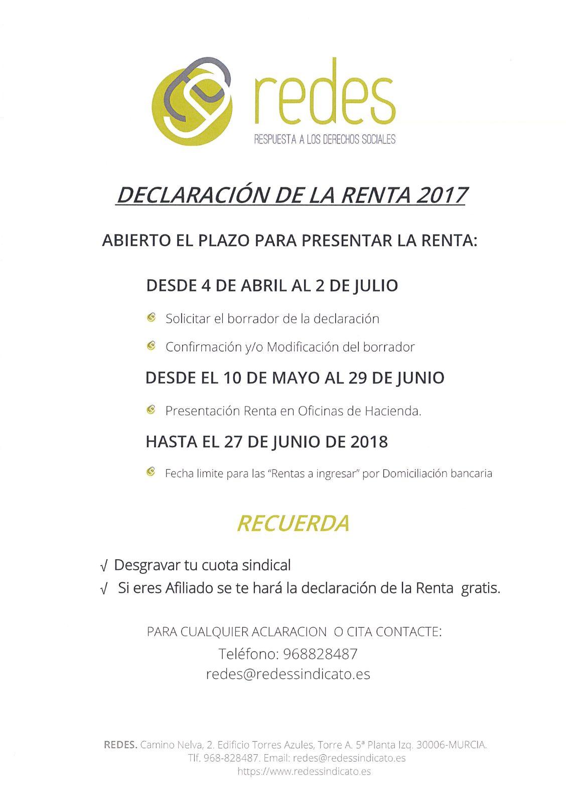 folleto de la oferta del sindicato REDES para la campaña 2018 de la renta
