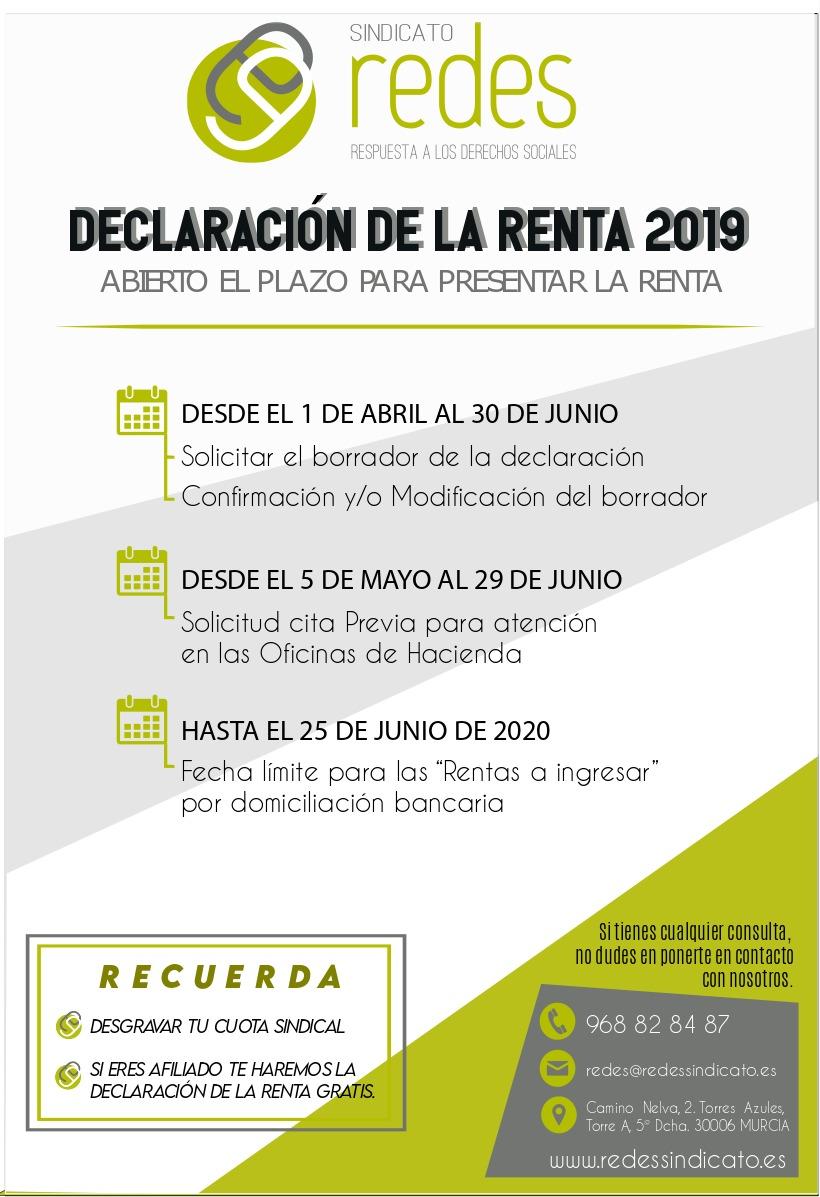 DECLARACION RENTA 2019 GRATIS AFILIADOS