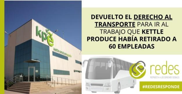 DEVUELTO EL DERECHO AL TRANSPORTE PARA IR AL TRABAJO KETTLE PRODUCE ESPAÑA
